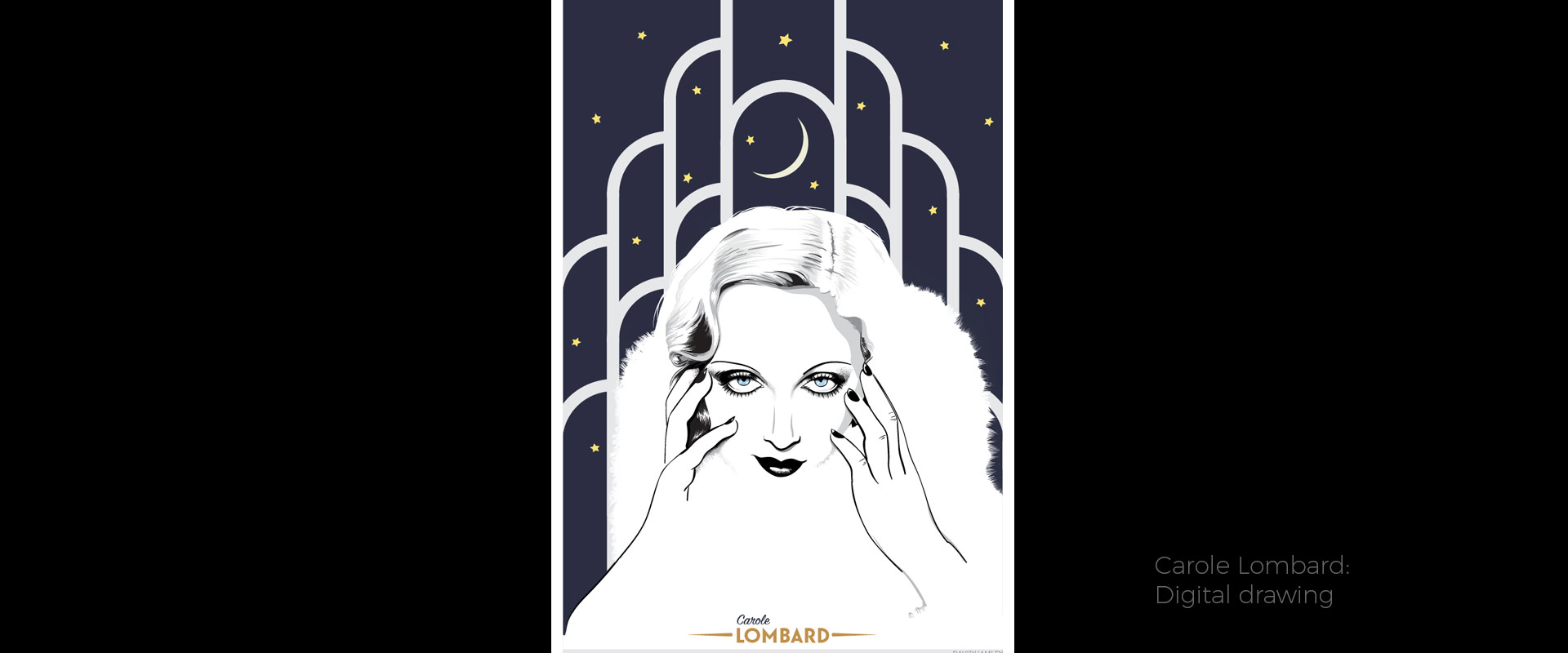 Carole Lombard, illustration by David Hamley
