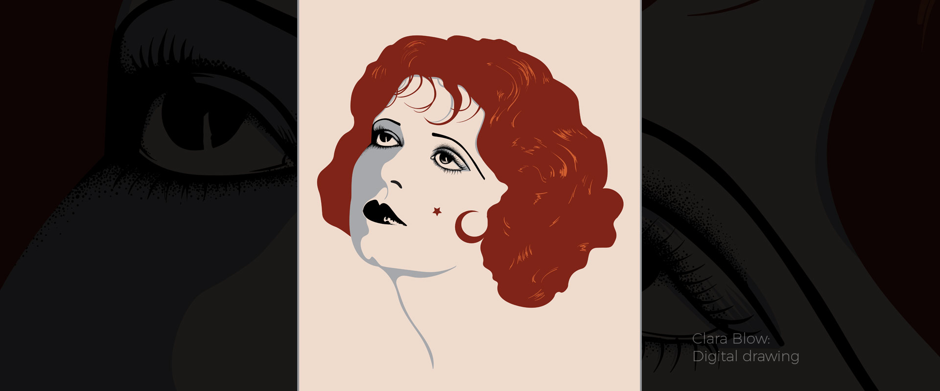 Clara Bow, illustration by David Hamley