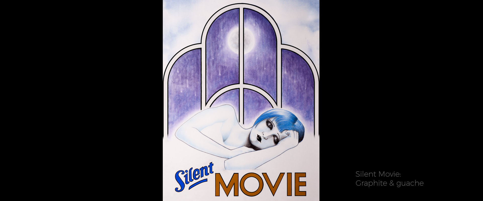 Silent movie, illustration by David Hamley